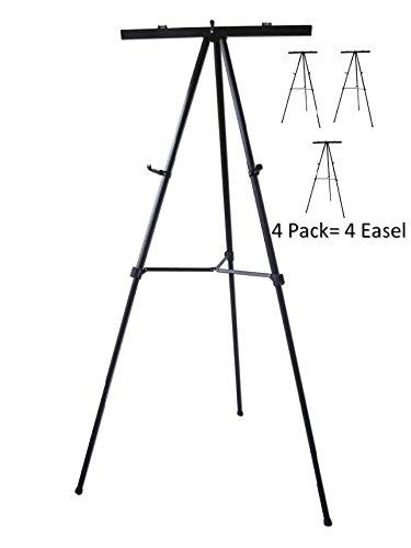 Pack of 4-Lightweight Aluminum Flip-Chart Presentation Easel, Black (4 Pack)