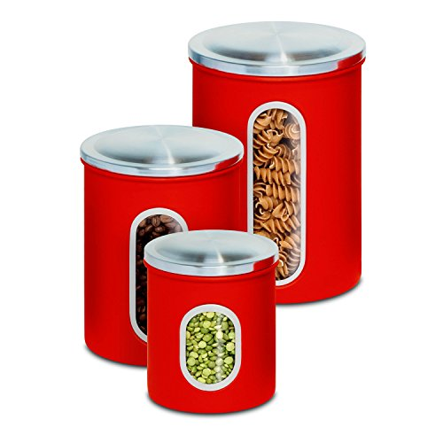 Honey Can Do KCH 03011 3 Piece Metal Nested Canister Set, Red