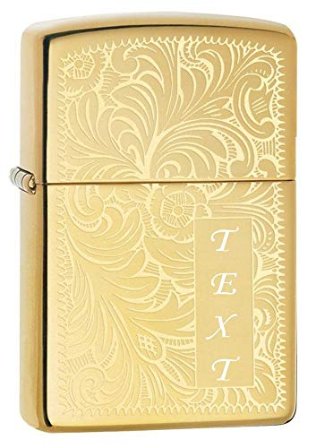 Zippo Venetian Brass Personalized Custom Message Engraving Windproof Lighter ()