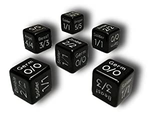 Set of 6 MTG Token Dice (Black) - Germ, Soldier, Zombie, Beast, Angel & Dragon
