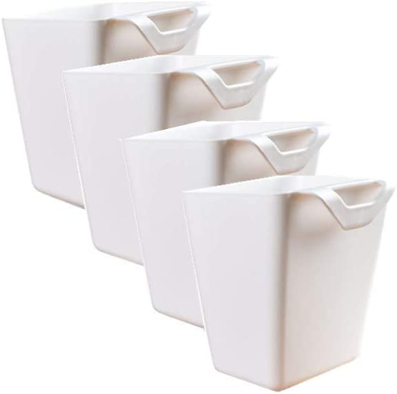 4Pcs Hanging Cup Holder,Office,Kitchen Wall Organizer,Plant Containers,Hanging Flower Pots,Space Saver,Storage Bucket Desktop Cleaning Trash Can,Make Up Pencil Holder Home Decor (White-3)