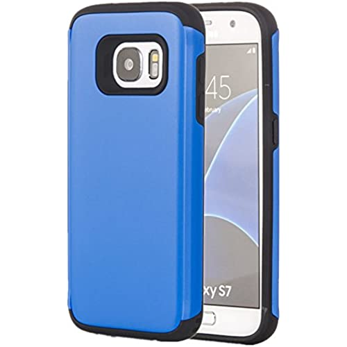 Galaxy S7 Case, Tuff Armor Rugged Hybrid Dual Layer Heavy Duty Protective Phone Cover Case (Blue) Sales