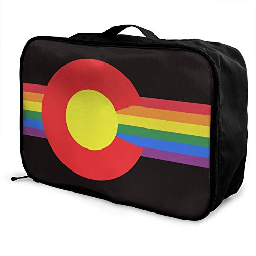 Colorado State Flag Gay Pride Storage Lightweight Large Capacity Portable Travel Luggage Trolley Bag