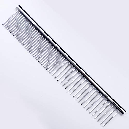 ZoCr Stainless Steel Pet Comb for Dogs Cats, Pet Grooming Comb with Different Spaced Rounded Teeth (Silvery)