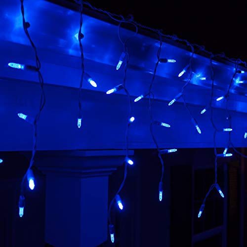 Blue And White Icicle Outdoor Christmas Lights in US - 5