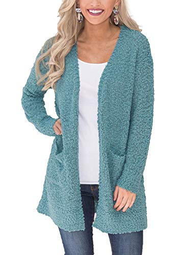 Ru Sweet Women's Long Sleeve Soft Chunky Knit Sweater Open Front Cardigan Outwear with Pockets Blue