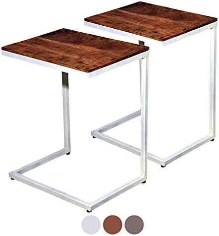 Te Koop Soma Salontafel, 2-delige set, woonkamertafel, bijzettafel, Atlanta, metalen onderstel, oudzilver of zwart, (B x H x L), 40 x 48 x 30 cm, Tabacco - wit  Sc6D0t9