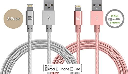 LAX Gadgets iPhone Lightning Cable - Apple MFi Certified Durable Braided Long Lightning Cable Compatible with iPhone X/ 8/8 Plus/ 7/7 Plus/IPad Pro ...