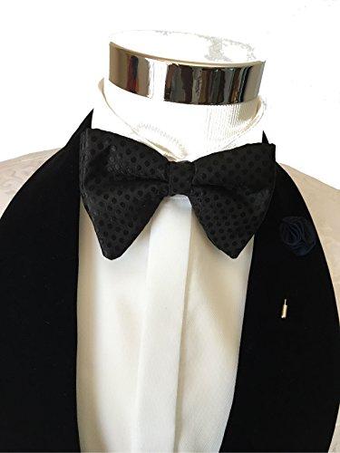 Mens-FERUCCI-Oversized-Bow-Tie-Tuxedo-Black-Silk-Bowtie-with-Black-Polka-Dot-big-bow-tie
