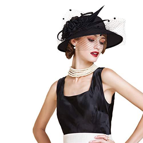 Sombrero Fieltro De Ala Del Mujeres Fascinator Para Sombreros Cóctel Elegantes Negro Derby Pastillero Olado Beret Las Lana Formales q4P1vnqU