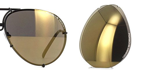 Original Porsche Design Lenses Set Only - For Model P8478 - 100% Authentic (V209 - Flash gold mirror, - Aviators Porsche Design