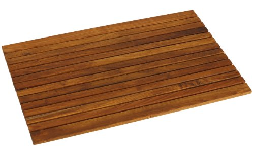 Bare Decor Cosi String Spa Shower Mat in Solid Teak Wood Oiled Finish, 31.5 by 20-Inch