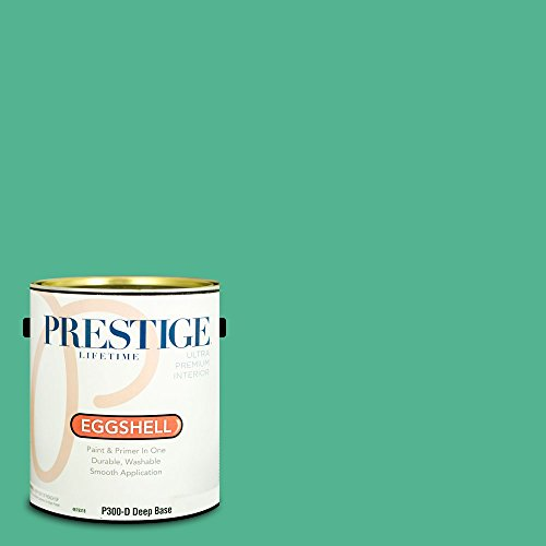 - Prestige Paints P300-D-MQ4-16 Interior Paint and Primer in One, 1-Gallon, Eggshell, Comparable Match of Behr Aruba Green, 1 Gallon, B9