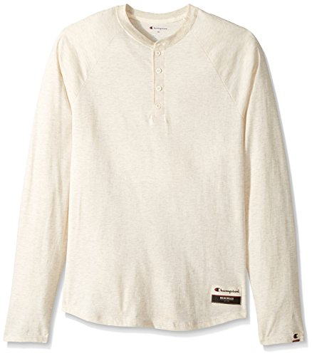 Oatmeal Color (Champion Men's Authentic Originals Long Sleeve Henley, Oatmeal Heather, Small)