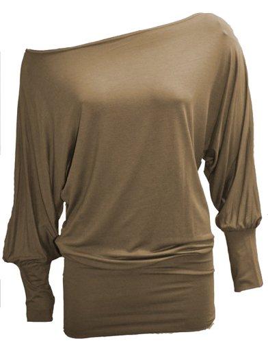 Fashion Victim, schulterfreies Langarmshirt mit Fledermausärmeln, Größe 40-42, Braun