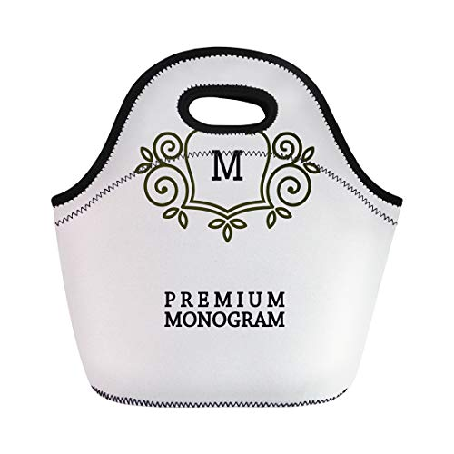 Semtomn Lunch Bags Boutique Antique Graceful Monogram Elegant Line in Nouveau Border Neoprene Lunch Bag Lunchbox Tote Bag Portable Picnic Bag Cooler Bag