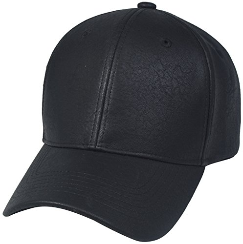 PU LEATHER Plain Adjustable Baseball Hats Snapback closure ( 6 Colors ) (BLACK)