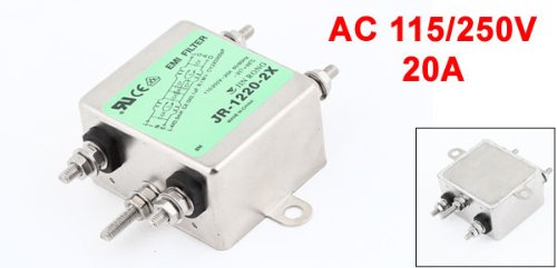 Uxcell 20A Rated Current JR-1220-R Power Line EMI Filter, AC 115V/250V by uxcell (Image #1)
