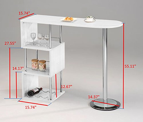 Kings Brand Furniture Bar Table With Storage Shelves With Chrome Finish White Buy Online In