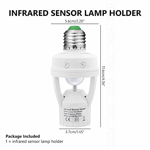 YCDC Smart AC110V/220V Infrared PIR Motion Sensor E27 LED Light Base Control Switch Holder, Socket Adapter 60W, 1 pc by YCDC (Image #6)