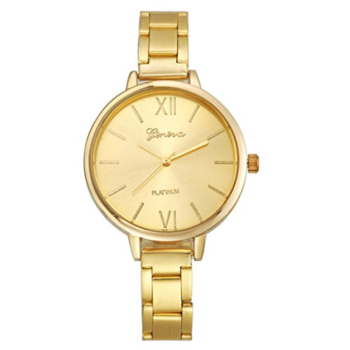 Women Small Steel Band Analog Quartz Wrist Watch Gold - 3