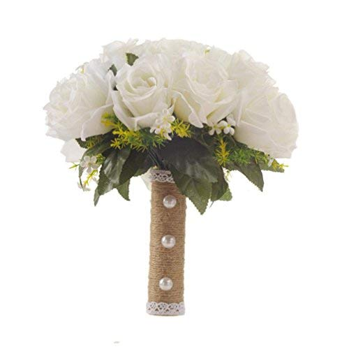 Wedding Bouquet, White Roses Luxury Delicate Bridal Bouquet Big Size for Wedding, Party]()