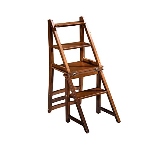 ALUS- Wood Multi-Functional Convertible Folding Home Kitchen Ladder Chair Four Step Stool (Color : Walnut Color)