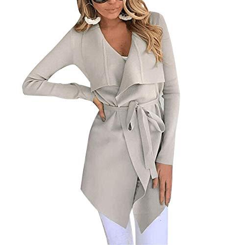 Color Irregular Correa XL Puro tamaño Cintura Vendaje Cuello Mujeres Apricot V ZFFde Color Invierno Abrigo Cárdigan Hq7wnPUP