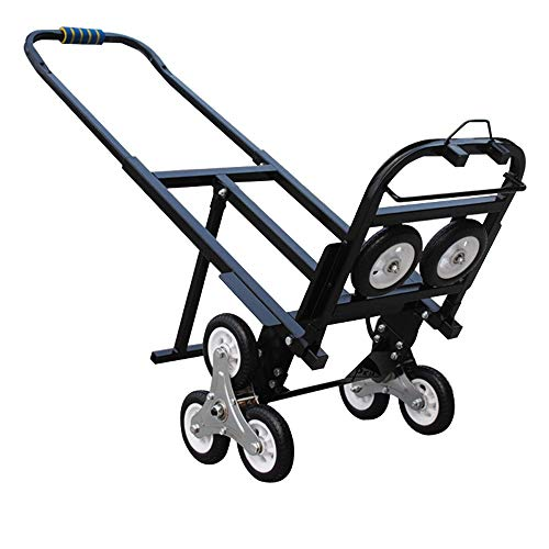 INTBUYING Stair Climbing Cart Portable Folding Hand Truck, 420LBS Capacity Handcart Luggage Cart with 6 Wheels and 2 Backup Wheels (Black)
