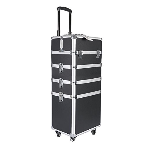 Professional Makeup Rolling Train Case,Portable Aluminum Rolling Case on Wheels with DIY Adjustable Divider&Key Lock,4-in-1 Artist Trolley Caster Box Bin-Black Box Caster