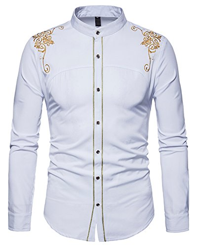 df1b7880980 WHATLEES Mens Solid Long Sleeve Slim Fit Embroidery Overlap Design Button  Down Dress Shirt B964-