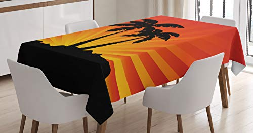 Ambesonne Silhouette Tablecloth, Tropical Art Sunrays Palm Trees on Island, Dining Room Kitchen Rectangular Table Cover, 60 W X 84 L Inches, Charcoal Grey Burnt Orange Marigold Earth Yellow