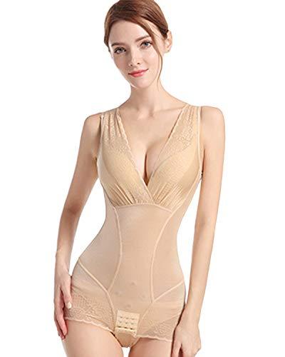 Shymay Women's Lace Body Shaper Corset Tummy Control Body Briefer Bodysuit Shapewear,Nude,Tagsize 2XL=USsize XL ()
