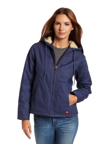 Dickies Women's Sanded Duck Hooded Jacket, Slate Blue, Medium (Sanded Hooded Work Jacket)