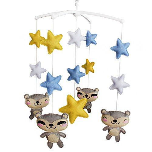 Musical Mobile For Crib Lovely Baby Gift Nursery Mobile Animal And Star by Black Temptation