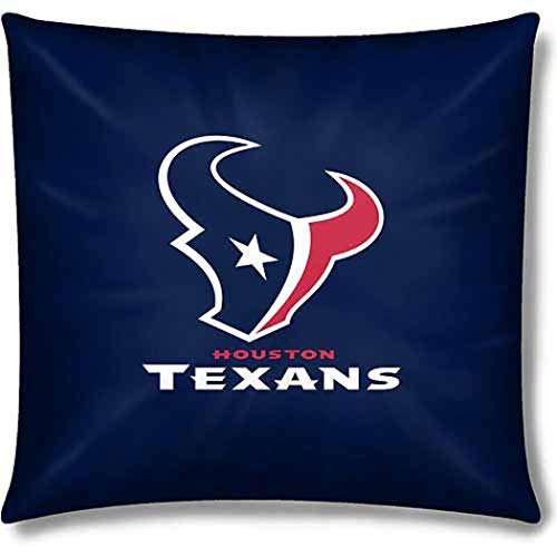 - 1 Piece NFL Texans Throw Pillow 15 Inches, Football Themed Accent Pillow For Bedroom Sofa Sports Patterned, Team Color Logo Fan Merchandise Athletic Spirit Steel Blue, Red, White Polyester Cotton