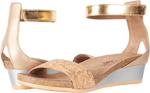 Naot Footwear Women's Pixie Gold Cork Leather/Champagne Leather/Gold Leather 38 M EU by Naot Footwear
