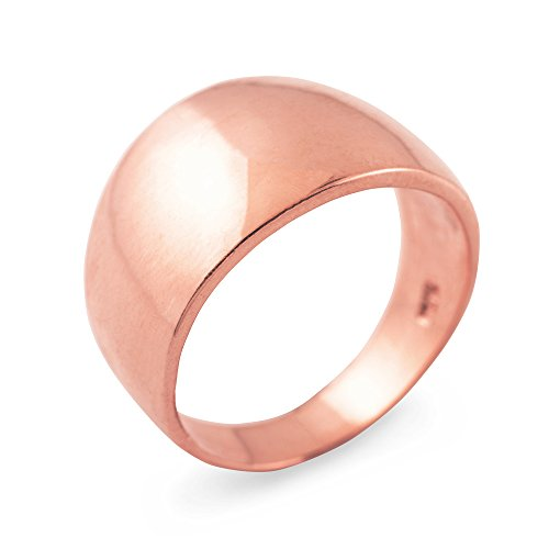Cigar Ring Band in High Polish 14k Rose Gold (Size 16) - Rose Gold Cigar Band Ring