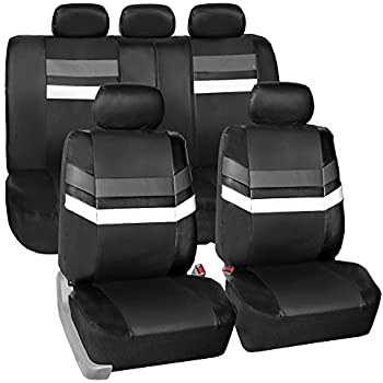 FH Group Leather Full Set Seat Covers Gray Airbag Safe PU006GRAY115 Split Bench Ready