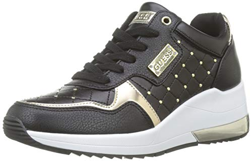 GUESS Women's Janetta/Active Lady/Leather Li Trainers, Bianco (White Black), 7