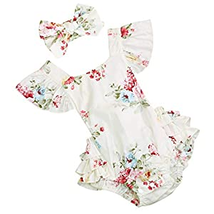 Baby Girls Cotton Vintage Floral Romper Set Ruffle Sleeve Solid Color Onesie with Headband