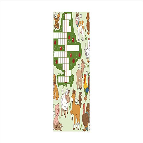 Decorative Window Film,No Glue Frosted Privacy Film,Stained Glass Door Film,Cartoon Style Farm Animals Cute Happy Country Life Theme Squares Numbers Decorative,for Home & Office,23.6In. by 78.7In Mult -