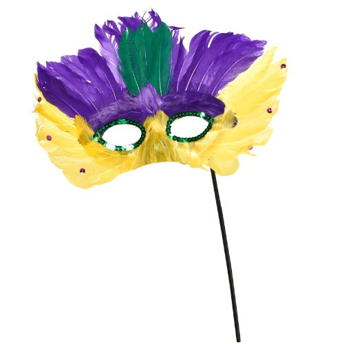 Mardi Gras - Sequin Mask with Peacock Feather and Stick Party Accessory ()