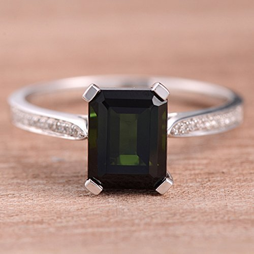 7*9mm Emerald Cut Green Tourmaline Engagement Ring White Gold Half Eternity Diamond Wedding ()