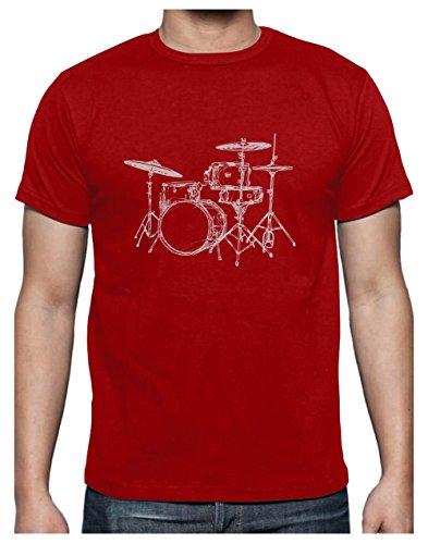 Fan T Printed Homme Rouge Drums Musique Batterie shirt Cool De Design g0dgFq