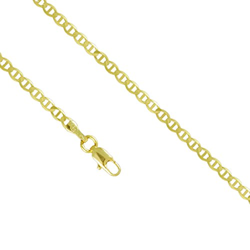 10K Yellow Gold 2.5mm Mariner Anchor Necklace Link Lobster Clasp (24 Inches)