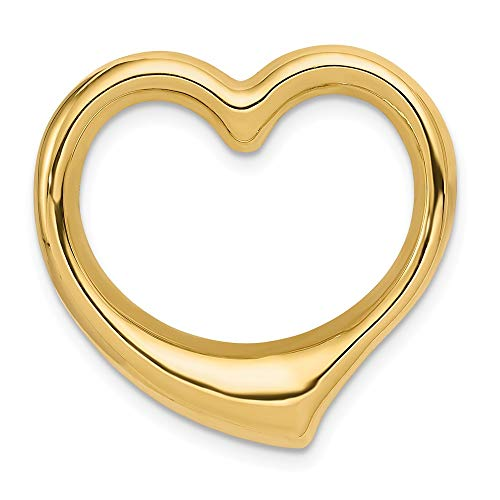 Mia Diamonds 14k Yellow Gold Heart Hollow Pendant Slide (24mm x 24mm)