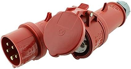 CEE-Verl/ängerungskabel Gummi H07RN-F 5G 2,5mm/² 400V 16 A mit Phasenwender 20 Meter von KALLE DAS KABEL