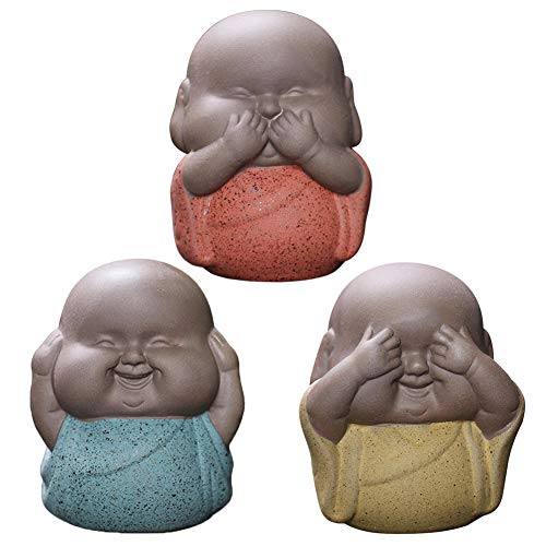 Jadenzoe Monk Figurine, Set of 3 Buddhist Monk Statue, Cute Little Monks Hear No Evil See No Evil Speak No Evil Buddha Statue, Ceramic Wise Monks Figurine Tea Pet Home Office Decor Collectible Art