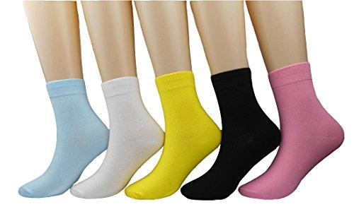 Cotton Crew Color (KEKEOCIA Women Colorful Candy Color Sock Casual Cotton Crew Socks 5-Pack (Color 5))